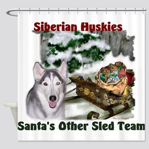 Siberian Husky Christmas Shower Curtain