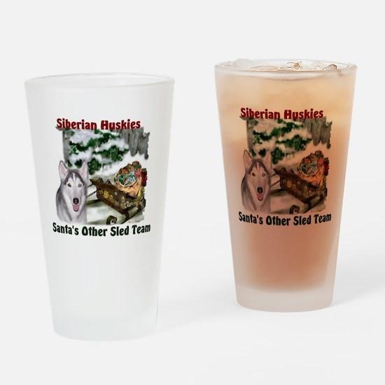 Siberian Husky Christmas Drinking Glass