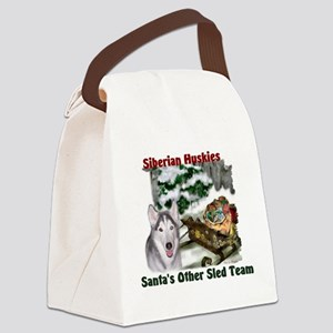 Siberian Husky Christmas Canvas Lunch Bag
