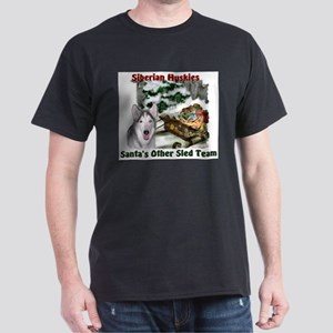 Siberian Husky Christmas Dark T-Shirt