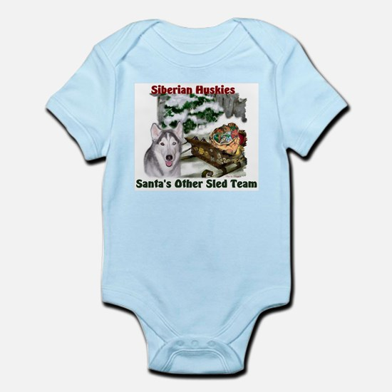 Siberian Husky Christmas Baby Light Bodysuit