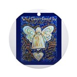 Blue & Gold Cancer Angel Ornament (Round)