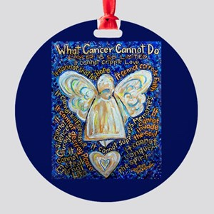 Blue & Gold Cancer Angel Round Ornament