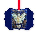 Blue & Gold Cancer Angel Picture Ornament