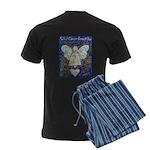 Blue & Gold Cancer Angel Men's Dark Pajamas