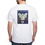 Blue & Gold Cancer Angel White T-Shirt