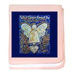 Blue & Gold Cancer Angel baby blanket