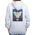 Blue & Gold Cancer Angel Women's Zip Hoodie