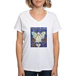 Blue & Gold Cancer Angel Women's V-Neck T-Shirt