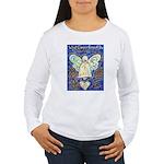 Blue & Gold Cancer Ang Women's Long Sleeve T-Shirt
