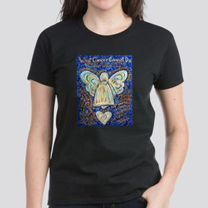 Blue & Gold Cancer Angel Women's Dark T-Shirt