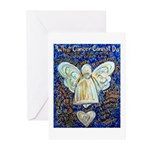 Blue & Gold Cancer Angel Greeting Cards (Pk of 20)