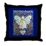 Blue & Gold Cancer Angel Throw Pillow