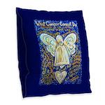 Blue & Gold Cancer Angel Burlap Throw Pillow