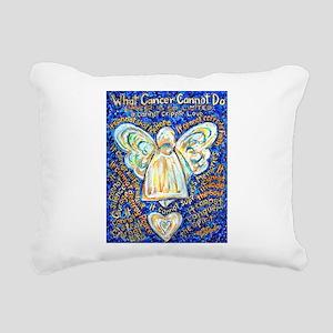 Blue & Gold Cancer Angel Rectangular Canvas Pillow