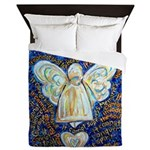 Blue & Gold Cancer Angel Queen Duvet