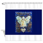 Blue & Gold Cancer Angel Shower Curtain