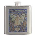 Blue & Gold Cancer Angel Flask