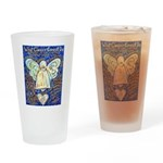 Blue & Gold Cancer Angel Drinking Glass