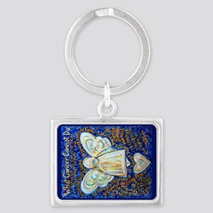 Blue & Gold Cancer Angel Landscape Keychain