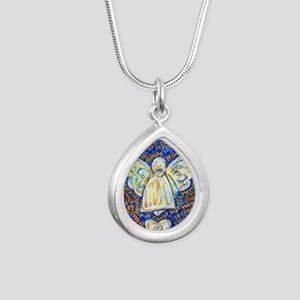 Blue & Gold Cancer Angel Silver Teardrop Necklace