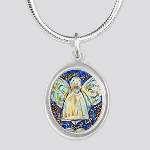 Blue & Gold Cancer Angel Silver Oval Necklace