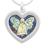 Blue & Gold Cancer Angel Silver Heart Necklace