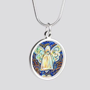Blue & Gold Cancer Angel Silver Round Necklace