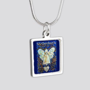 Blue & Gold Cancer Angel Silver Square Necklace