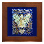 Blue & Gold Cancer Angel Framed Tile
