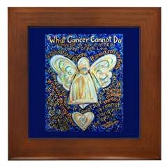 Blue & Gold Cancer Angel Framed Tile