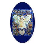 Blue & Gold Cancer Angel Sticker (Oval)