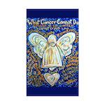 Blue & Gold Cancer Angel Sticker (Rectangle 10 pk)