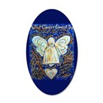 Blue & Gold Cancer Angel 35x21 Oval Wall Decal