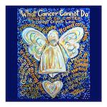 Blue & Gold Cancer Angel Square Car Magnet 3