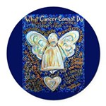 Blue & Gold Cancer Angel Round Car Magnet