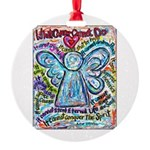 Colorful Cancer Angel Round Ornament