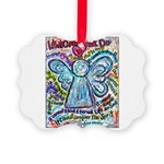 Colorful Cancer Angel Picture Ornament