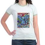 Colorful Cancer Angel Jr. Ringer T-Shirt