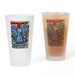 Colorful Cancer Angel Drinking Glass
