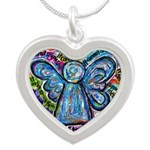 Colorful Cancer Angel Silver Heart Necklace