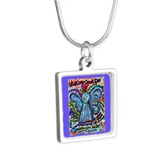 Colorful Cancer Angel Silver Square Necklace