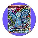 Colorful Cancer Angel Round Car Magnet