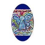 Colorful Cancer Angel Oval Car Magnet