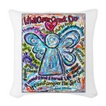 Colorful Cancer Angel Woven Throw Pillow
