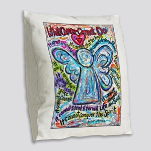 Colorful Cancer Angel Burlap Throw Pillow