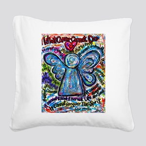 Colorful Cancer Angel Square Canvas Pillow