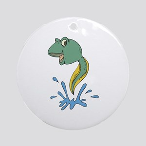 Cute Leaping Tadpole Ornament (Round)