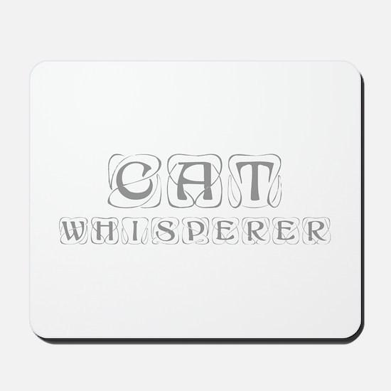 cat-whisperer-kon-gray Mousepad