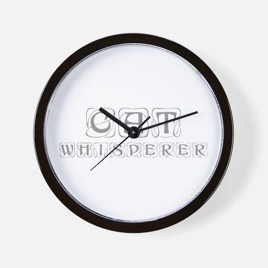 cat-whisperer-kon-gray Wall Clock